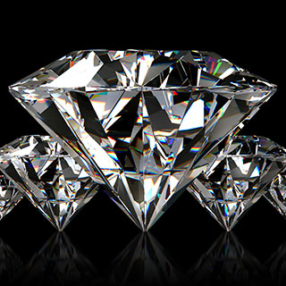 five diamonds on black background